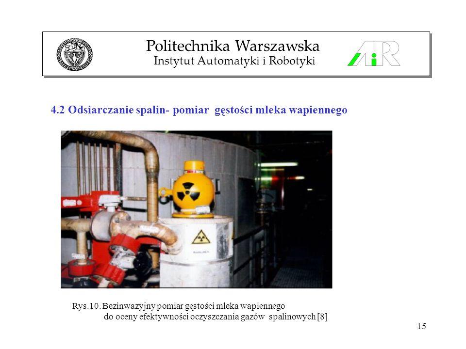 15 Politechnika Warszawska Instytut Automatyki i Robotyki 4.2 Odsiarczanie spalin- pomiar gęstości mleka wapiennego Rys.10. Bezinwazyjny pomiar gęstoś