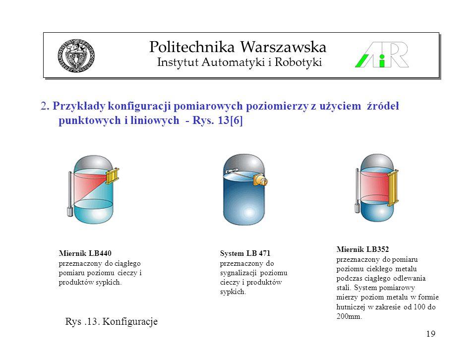 19 2. Przykłady konfiguracji pomiarowych poziomierzy z użyciem źródeł punktowych i liniowych - Rys. 13[6] Politechnika Warszawska Instytut Automatyki