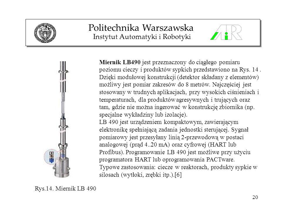 20 Politechnika Warszawska Instytut Automatyki i Robotyki Miernik LB490 jest przeznaczony do ciągłego pomiaru poziomu cieczy i produktów sypkich przed