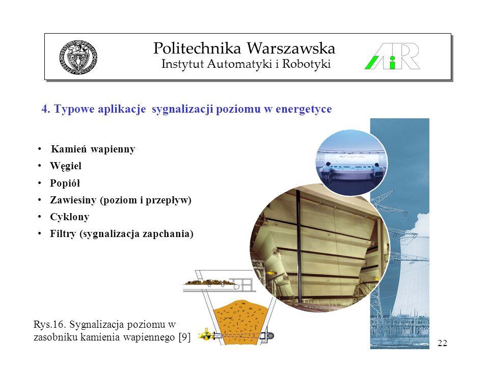 22 4. Typowe aplikacje sygnalizacji poziomu w energetyce Politechnika Warszawska Instytut Automatyki i Robotyki Kamień wapienny Węgiel Popiół Zawiesin