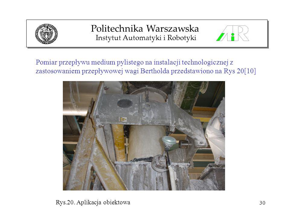 30 Pomiar przepływu medium pylistego na instalacji technologicznej z zastosowaniem przepływowej wagi Bertholda przedstawiono na Rys 20[10] Politechnik