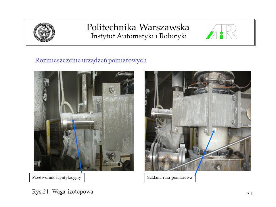 31 Rozmieszczenie urządzeń pomiarowych Politechnika Warszawska Instytut Automatyki i Robotyki Przetwornik scyntylacyjnySzklana rura pomiarowa Rys.21.