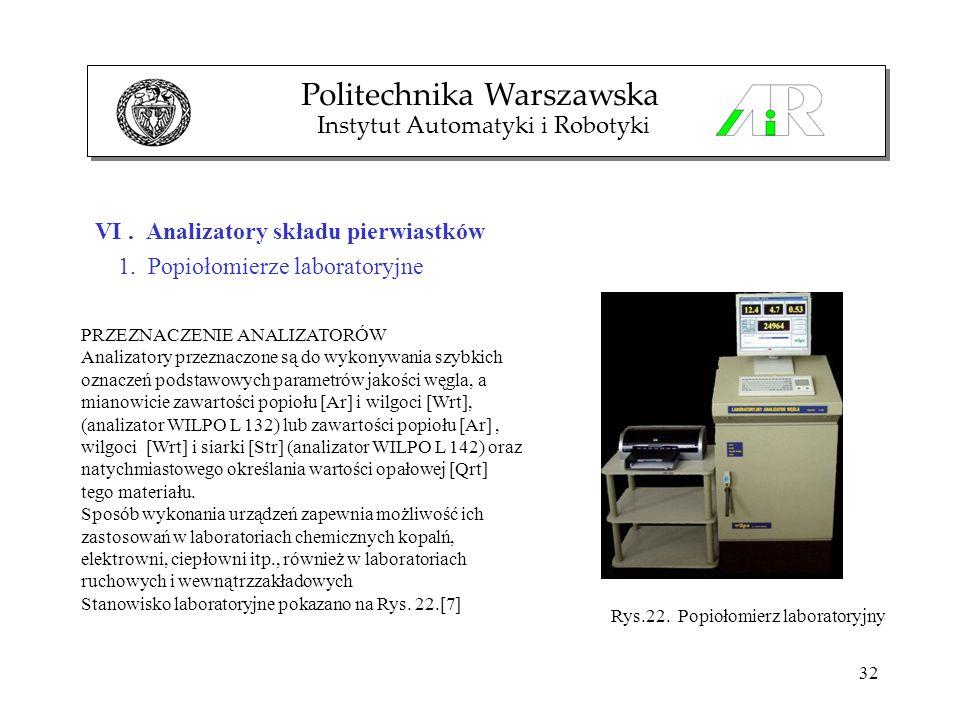32 VI. Analizatory składu pierwiastków 1. Popiołomierze laboratoryjne Politechnika Warszawska Instytut Automatyki i Robotyki PRZEZNACZENIE ANALIZATORÓ