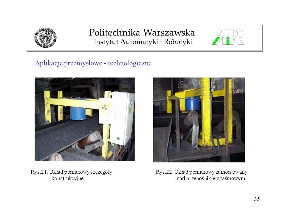 35 Aplikacje przemysłowe - technologiczne Politechnika Warszawska Instytut Automatyki i Robotyki Rys.22. Układ pomiarowy zamontowany nad przenośnikiem