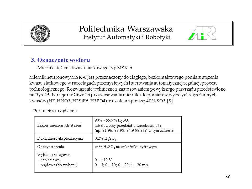 36 3. Oznaczenie wodoru Miernik stężenia kwasu siarkowego typ MSK-6 Politechnika Warszawska Instytut Automatyki i Robotyki Miernik neutronowy MSK-6 je