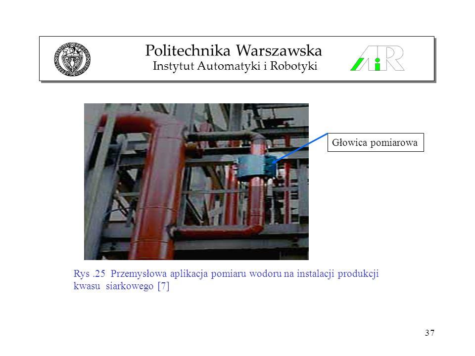 37 Politechnika Warszawska Instytut Automatyki i Robotyki Rys.25 Przemysłowa aplikacja pomiaru wodoru na instalacji produkcji kwasu siarkowego [7] Gło