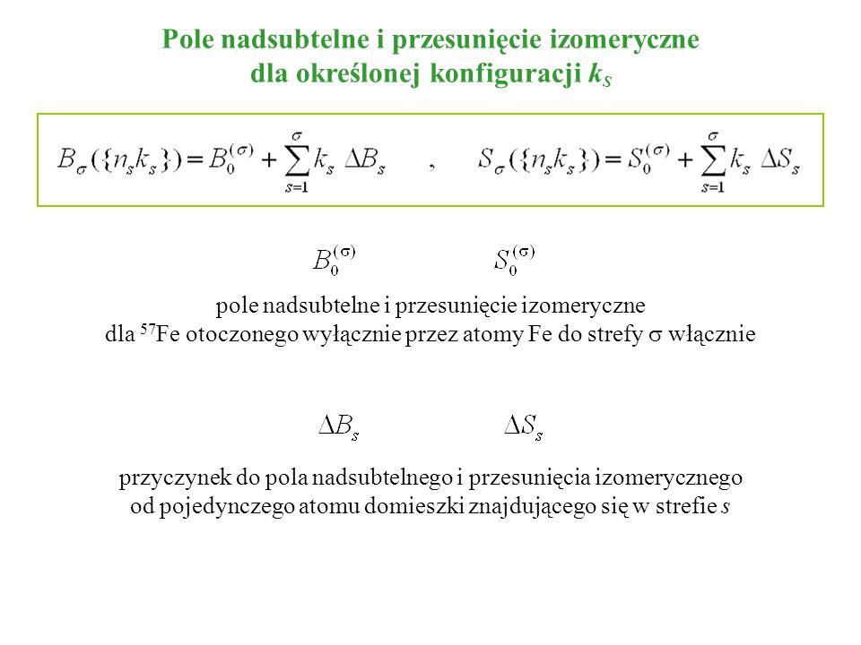 Pole nadsubtelne i przesunięcie izomeryczne dla określonej konfiguracji k S pole nadsubtelne i przesunięcie izomeryczne dla 57 Fe otoczonego wyłącznie przez atomy Fe do strefy włącznie przyczynek do pola nadsubtelnego i przesunięcia izomerycznego od pojedynczego atomu domieszki znajdującego się w strefie s