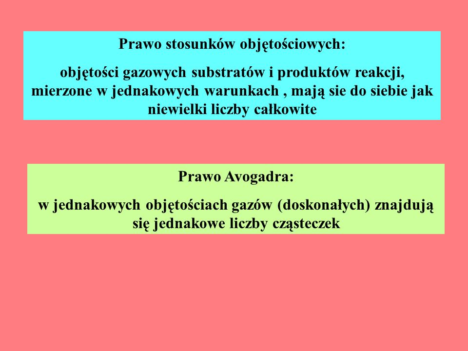 Prawo stosunków objętościowych: objętości gazowych substratów i produktów reakcji, mierzone w jednakowych warunkach, mają sie do siebie jak niewielki liczby całkowite Prawo Avogadra: w jednakowych objętościach gazów (doskonałych) znajdują się jednakowe liczby cząsteczek