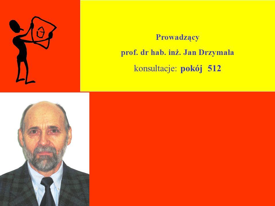 Prowadzący prof. dr hab. inż. Jan Drzymała konsultacje: pokój 512