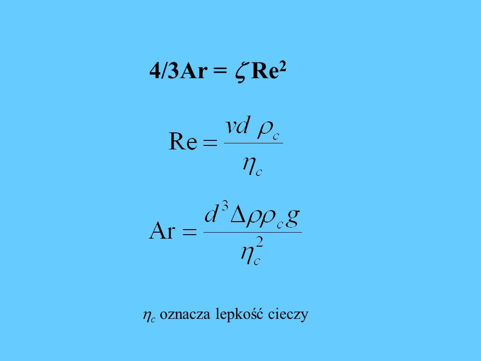 4/3Ar = Re 2 c oznacza lepkość cieczy