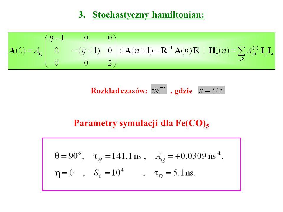 3. Stochastyczny hamiltonian: Rozkład czasów:, gdzie Parametry symulacji dla Fe(CO) 5