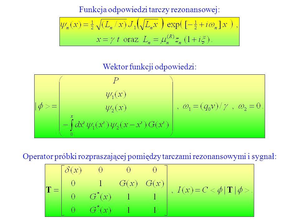 Funkcja odpowiedzi tarczy rezonansowej: Wektor funkcji odpowiedzi: Operator próbki rozpraszającej pomiędzy tarczami rezonansowymi i sygnał: