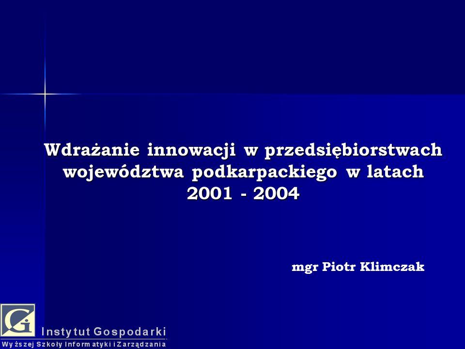 Wdrażanie innowacji w przedsiębiorstwach województwa podkarpackiego w latach 2001 - 2004 mgr Piotr Klimczak