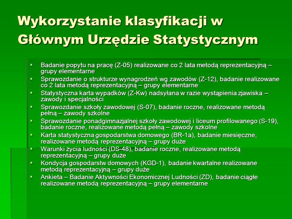 Wykorzystanie klasyfikacji w Głównym Urzędzie Statystycznym Badanie popytu na pracę (Z-05) realizowane co 2 lata metodą reprezentacyjną – grupy elemen