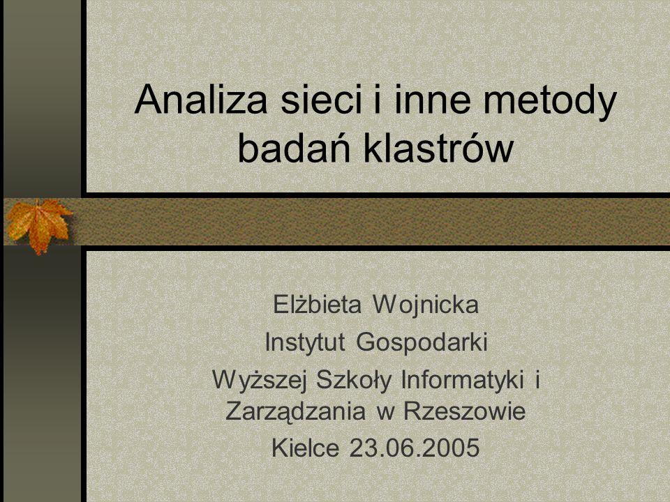 Analiza sieci i inne metody badań klastrów Elżbieta Wojnicka Instytut Gospodarki Wyższej Szkoły Informatyki i Zarządzania w Rzeszowie Kielce 23.06.2005