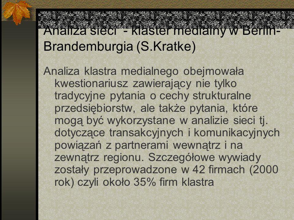 Analiza sieci - klaster medialny w Berlin- Brandemburgia (S.Kratke) Analiza klastra medialnego obejmowała kwestionariusz zawierający nie tylko tradycyjne pytania o cechy strukturalne przedsiębiorstw, ale także pytania, które mogą być wykorzystane w analizie sieci tj.