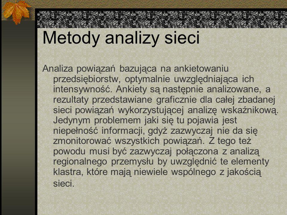 Metody analizy sieci Analiza powiązań bazująca na ankietowaniu przedsiębiorstw, optymalnie uwzględniająca ich intensywność.