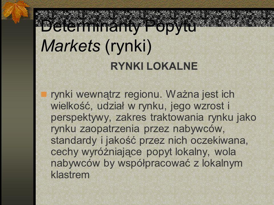 Determinanty Popytu Markets (rynki) RYNKI LOKALNE rynki wewnątrz regionu.