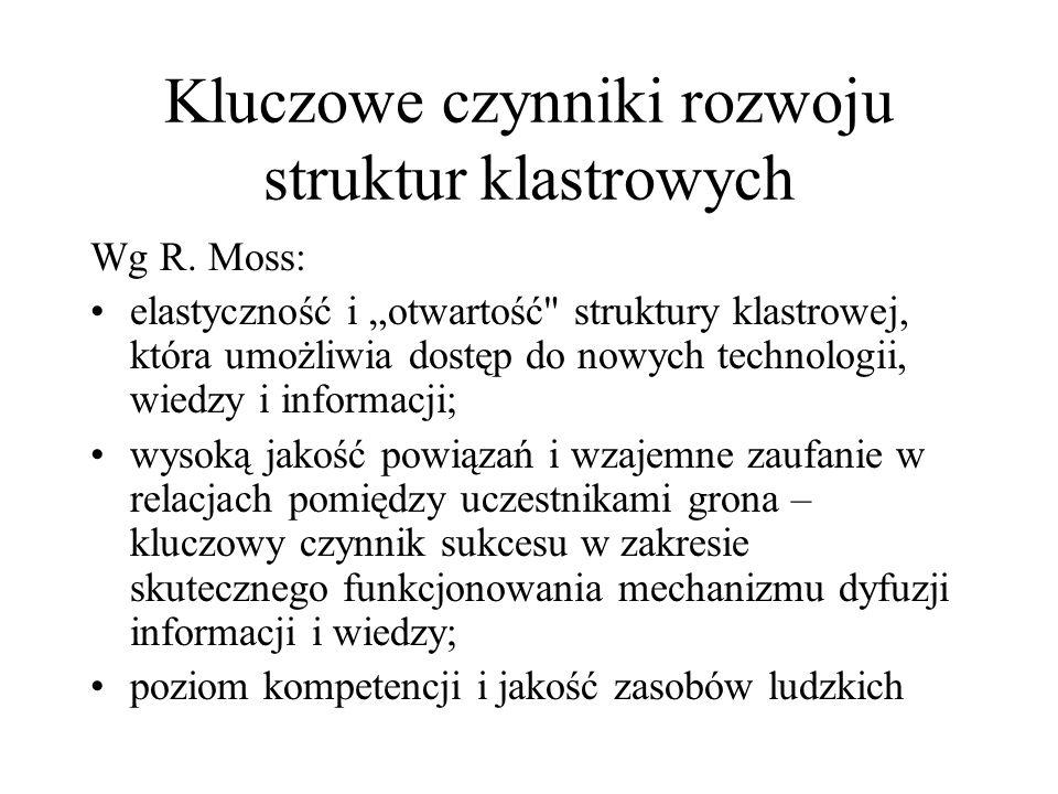 Kluczowe czynniki rozwoju struktur klastrowych Wg R. Moss: elastyczność i otwartość