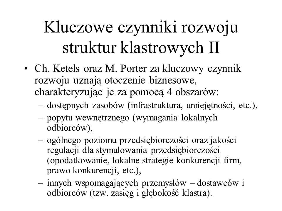 Kluczowe czynniki rozwoju struktur klastrowych II Ch. Ketels oraz M. Porter za kluczowy czynnik rozwoju uznają otoczenie biznesowe, charakteryzując je