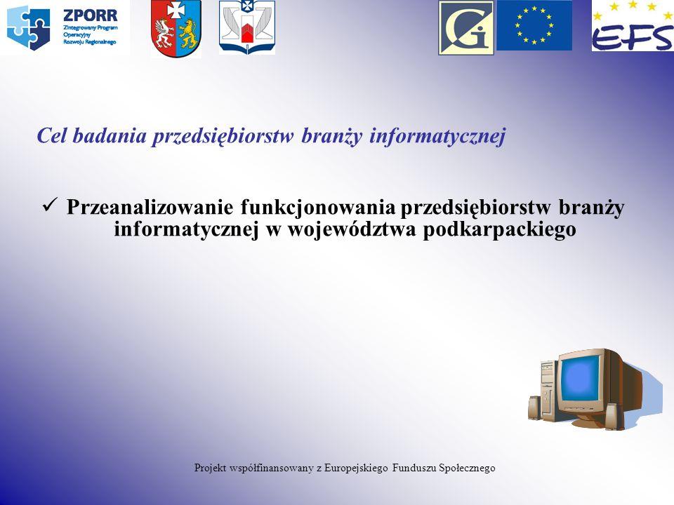 Cel badania przedsiębiorstw branży informatycznej Przeanalizowanie funkcjonowania przedsiębiorstw branży informatycznej w województwa podkarpackiego P