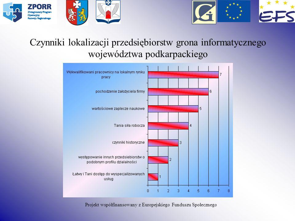Czynniki lokalizacji przedsiębiorstw grona informatycznego województwa podkarpackiego Projekt współfinansowany z Europejskiego Funduszu Społecznego