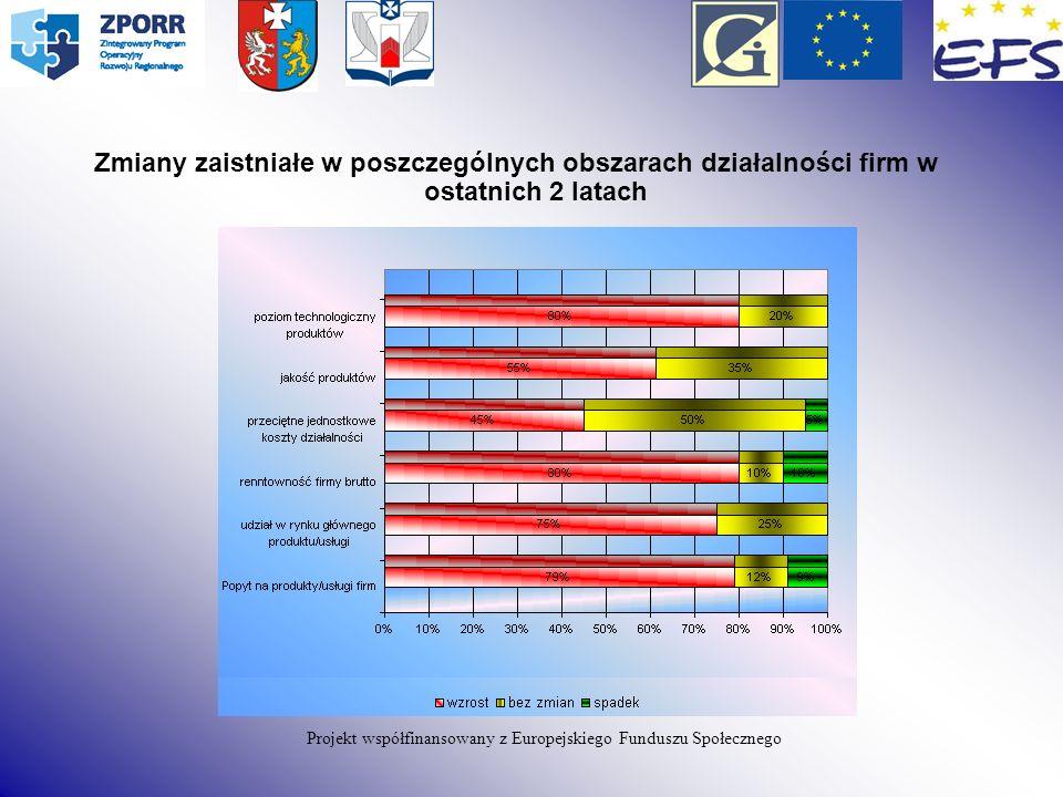 Zmiany zaistniałe w poszczególnych obszarach działalności firm w ostatnich 2 latach Projekt współfinansowany z Europejskiego Funduszu Społecznego