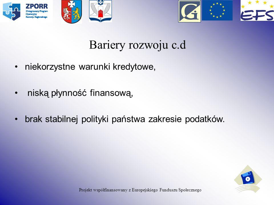 Projekt współfinansowany z Europejskiego Funduszu Społecznego niekorzystne warunki kredytowe, niską płynność finansową, brak stabilnej polityki państw