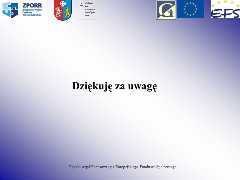 Dziękuję za uwagę Projekt współfinansowany z Europejskiego Funduszu Społecznego
