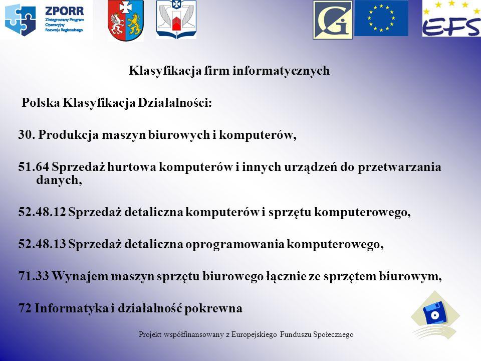 Klasyfikacja firm informatycznych Polska Klasyfikacja Działalności: 30. Produkcja maszyn biurowych i komputerów, 51.64 Sprzedaż hurtowa komputerów i i