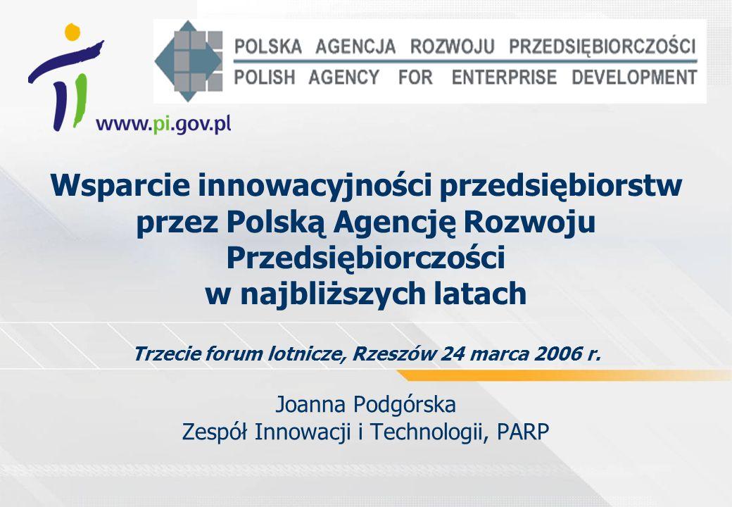 Wsparcie innowacyjności przedsiębiorstw przez Polską Agencję Rozwoju Przedsiębiorczości w najbliższych latach Trzecie forum lotnicze, Rzeszów 24 marca 2006 r.