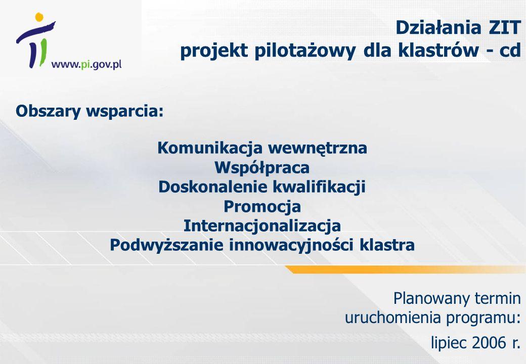 Obszary wsparcia: Komunikacja wewnętrzna Współpraca Doskonalenie kwalifikacji Promocja Internacjonalizacja Podwyższanie innowacyjności klastra Planowany termin uruchomienia programu: lipiec 2006 r.