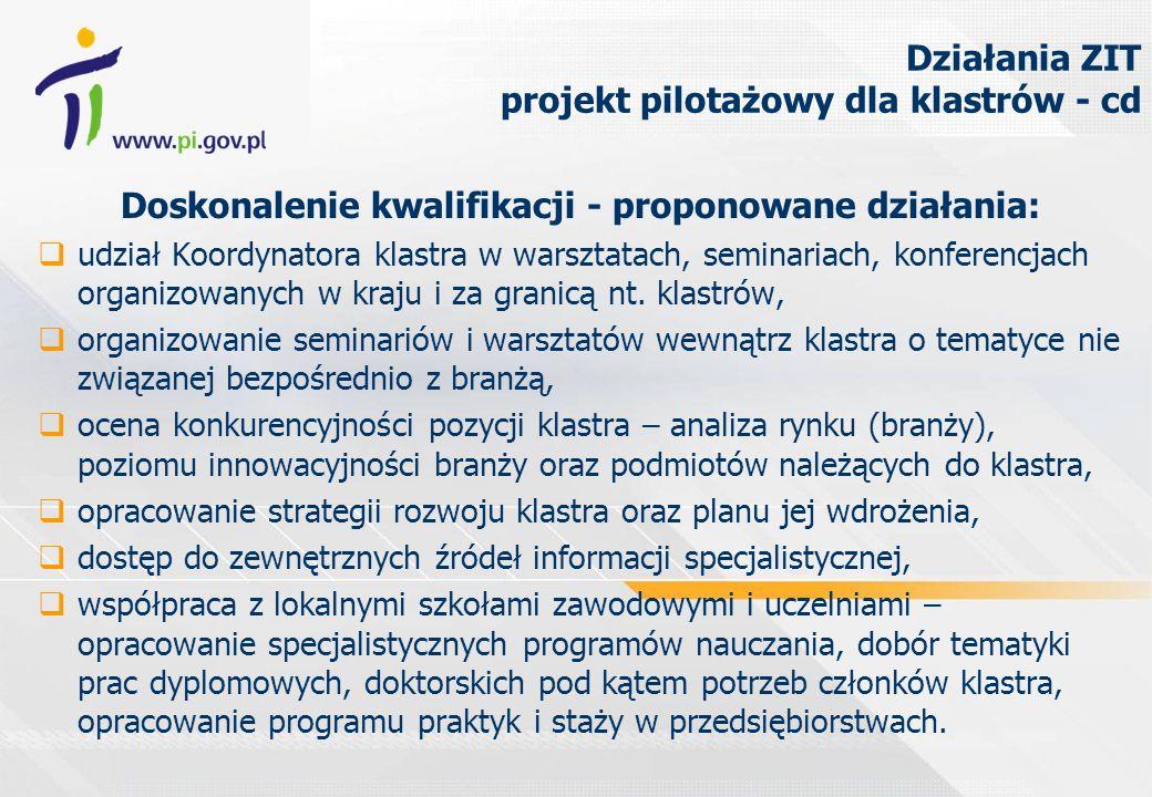 Działania ZIT projekt pilotażowy dla klastrów - cd Doskonalenie kwalifikacji - proponowane działania: udział Koordynatora klastra w warsztatach, seminariach, konferencjach organizowanych w kraju i za granicą nt.