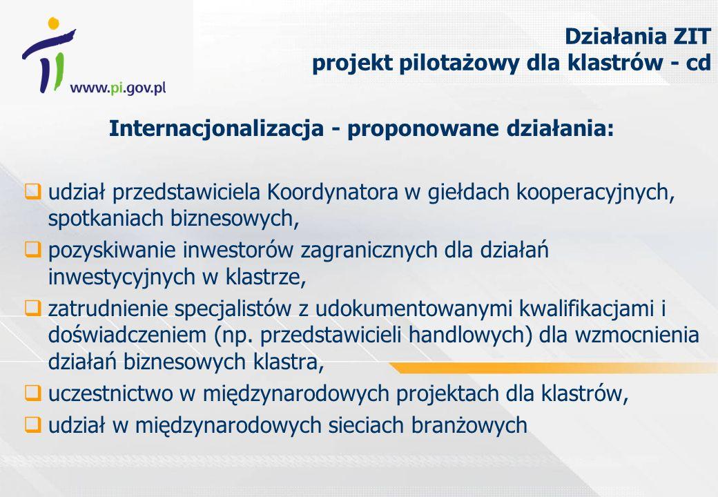 Działania ZIT projekt pilotażowy dla klastrów - cd Internacjonalizacja - proponowane działania: udział przedstawiciela Koordynatora w giełdach kooperacyjnych, spotkaniach biznesowych, pozyskiwanie inwestorów zagranicznych dla działań inwestycyjnych w klastrze, zatrudnienie specjalistów z udokumentowanymi kwalifikacjami i doświadczeniem (np.