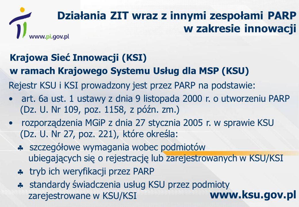 Krajowa Sieć Innowacji (KSI) w ramach Krajowego Systemu Usług dla MSP (KSU) Działania ZIT wraz z innymi zespołami PARP w zakresie innowacji www.ksu.gov.pl Rejestr KSU i KSI prowadzony jest przez PARP na podstawie: art.
