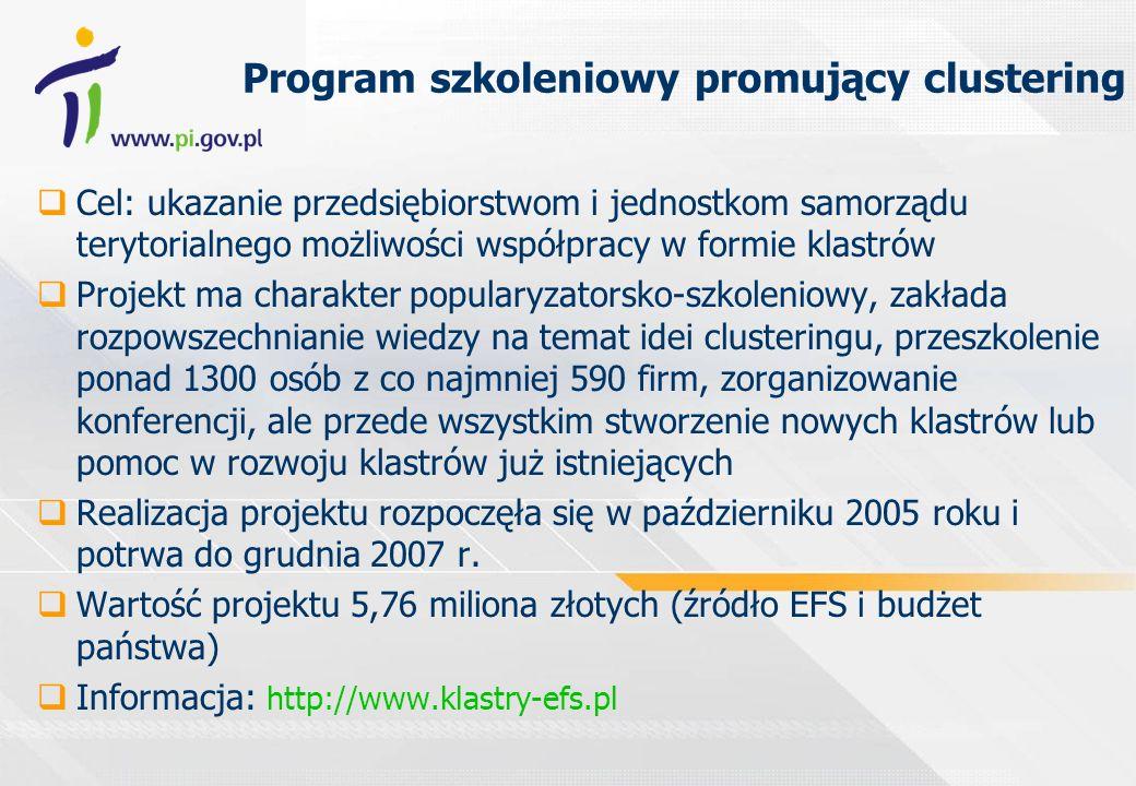 Program szkoleniowy promujący clustering Cel: ukazanie przedsiębiorstwom i jednostkom samorządu terytorialnego możliwości współpracy w formie klastrów Projekt ma charakter popularyzatorsko-szkoleniowy, zakłada rozpowszechnianie wiedzy na temat idei clusteringu, przeszkolenie ponad 1300 osób z co najmniej 590 firm, zorganizowanie konferencji, ale przede wszystkim stworzenie nowych klastrów lub pomoc w rozwoju klastrów już istniejących Realizacja projektu rozpoczęła się w październiku 2005 roku i potrwa do grudnia 2007 r.