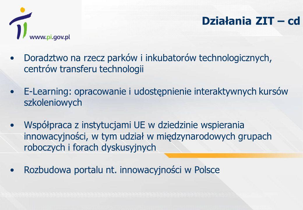 Doradztwo na rzecz parków i inkubatorów technologicznych, centrów transferu technologii E-Learning: opracowanie i udostępnienie interaktywnych kursów szkoleniowych Współpraca z instytucjami UE w dziedzinie wspierania innowacyjności, w tym udział w międzynarodowych grupach roboczych i forach dyskusyjnych Rozbudowa portalu nt.