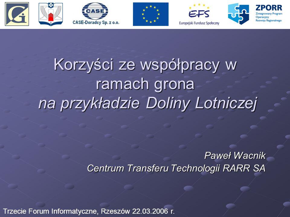 Korzyści ze współpracy w ramach grona na przykładzie Doliny Lotniczej Paweł Wacnik Centrum Transferu Technologii RARR SA Trzecie Forum Informatyczne,