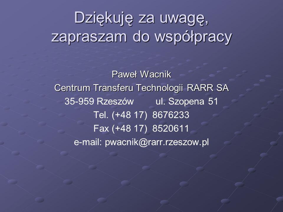 Dziękuję za uwagę, zapraszam do współpracy Paweł Wacnik Centrum Transferu Technologii RARR SA 35-959 Rzeszów ul. Szopena 51 Tel. (+48 17) 8676233 Fax
