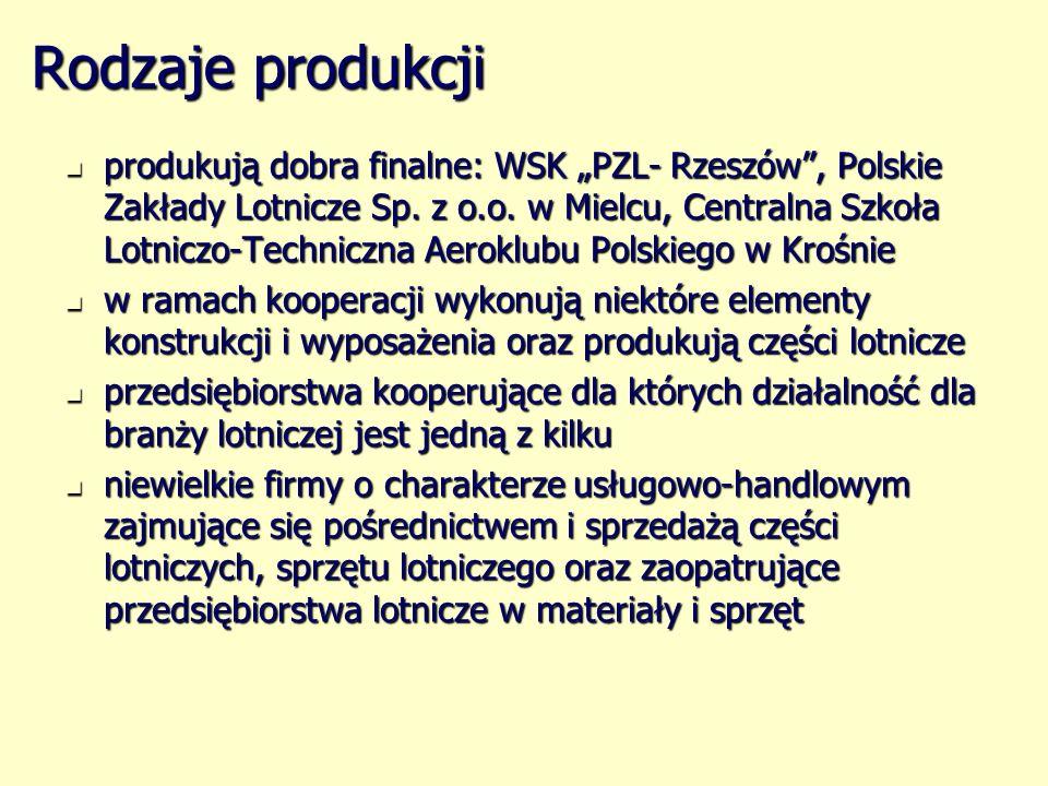 Rodzaje produkcji produkują dobra finalne: WSK PZL- Rzeszów, Polskie Zakłady Lotnicze Sp. z o.o. w Mielcu, Centralna Szkoła Lotniczo-Techniczna Aerokl