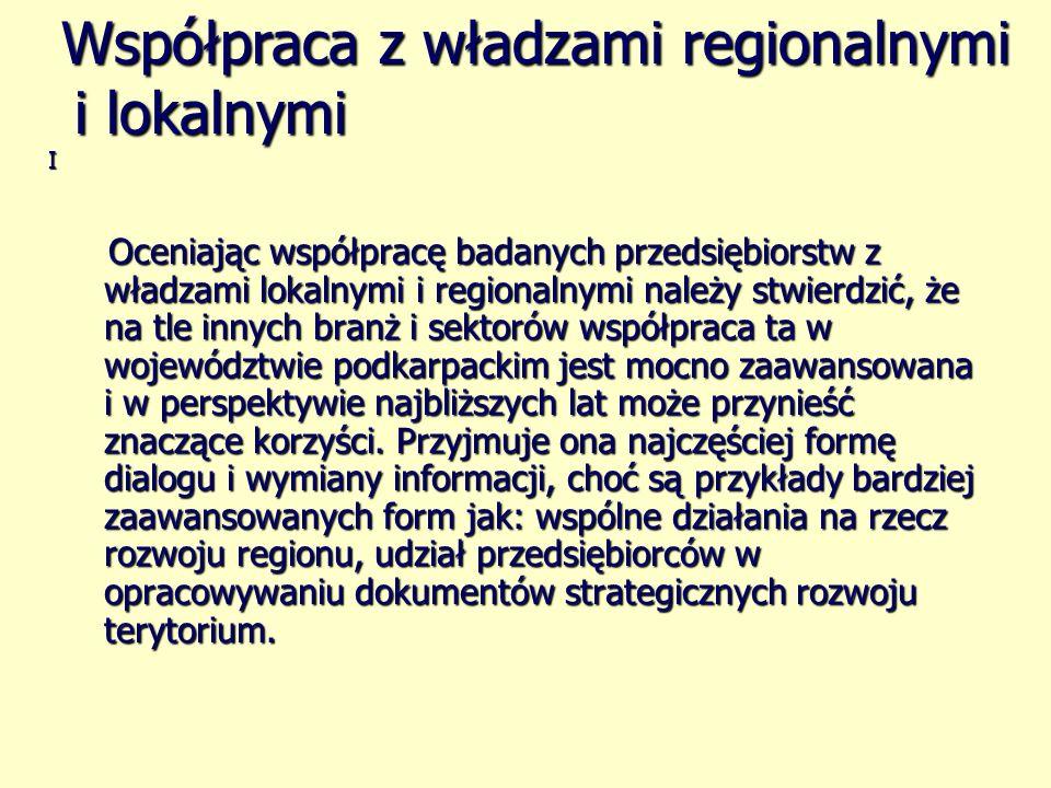 Oceniając współpracę badanych przedsiębiorstw z władzami lokalnymi i regionalnymi należy stwierdzić, że na tle innych branż i sektorów współpraca ta w