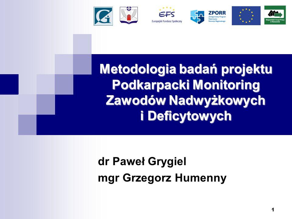 1 Metodologia badań projektu Podkarpacki Monitoring Zawodów Nadwyżkowych i Deficytowych dr Paweł Grygiel mgr Grzegorz Humenny