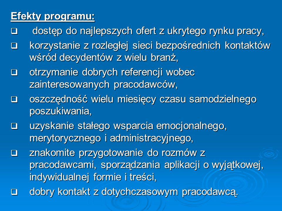 Efekty programu: dostęp do najlepszych ofert z ukrytego rynku pracy, dostęp do najlepszych ofert z ukrytego rynku pracy, korzystanie z rozległej sieci