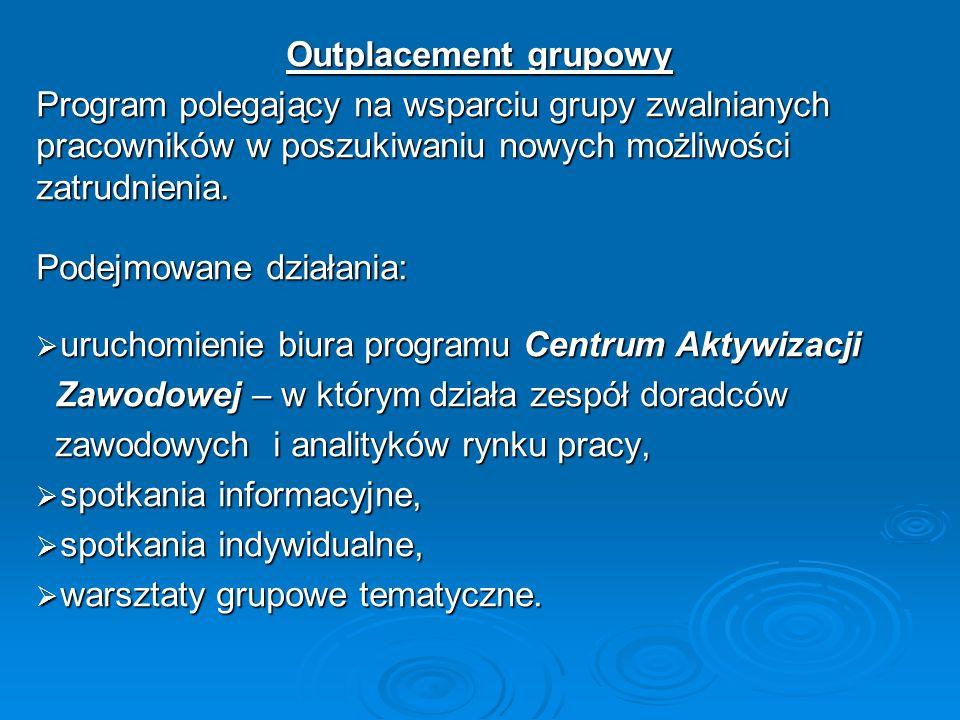 Outplacement grupowy Program polegający na wsparciu grupy zwalnianych pracowników w poszukiwaniu nowych możliwości zatrudnienia. Podejmowane działania