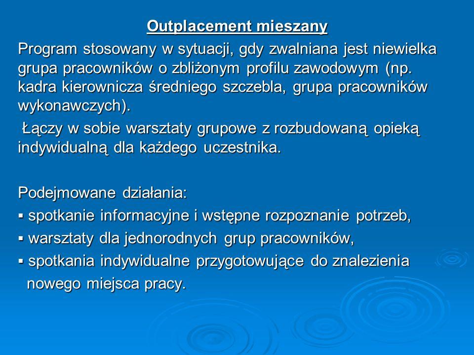 Outplacement mieszany Program stosowany w sytuacji, gdy zwalniana jest niewielka grupa pracowników o zbliżonym profilu zawodowym (np. kadra kierownicz