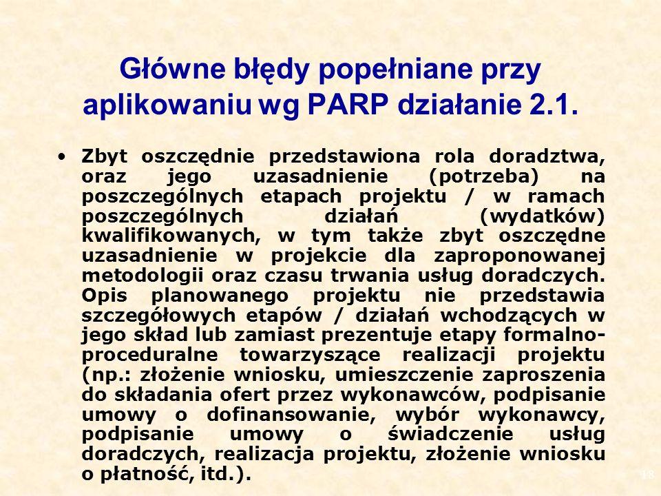 18 Główne błędy popełniane przy aplikowaniu wg PARP działanie 2.1.
