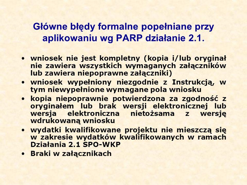 19 Główne błędy formalne popełniane przy aplikowaniu wg PARP działanie 2.1.