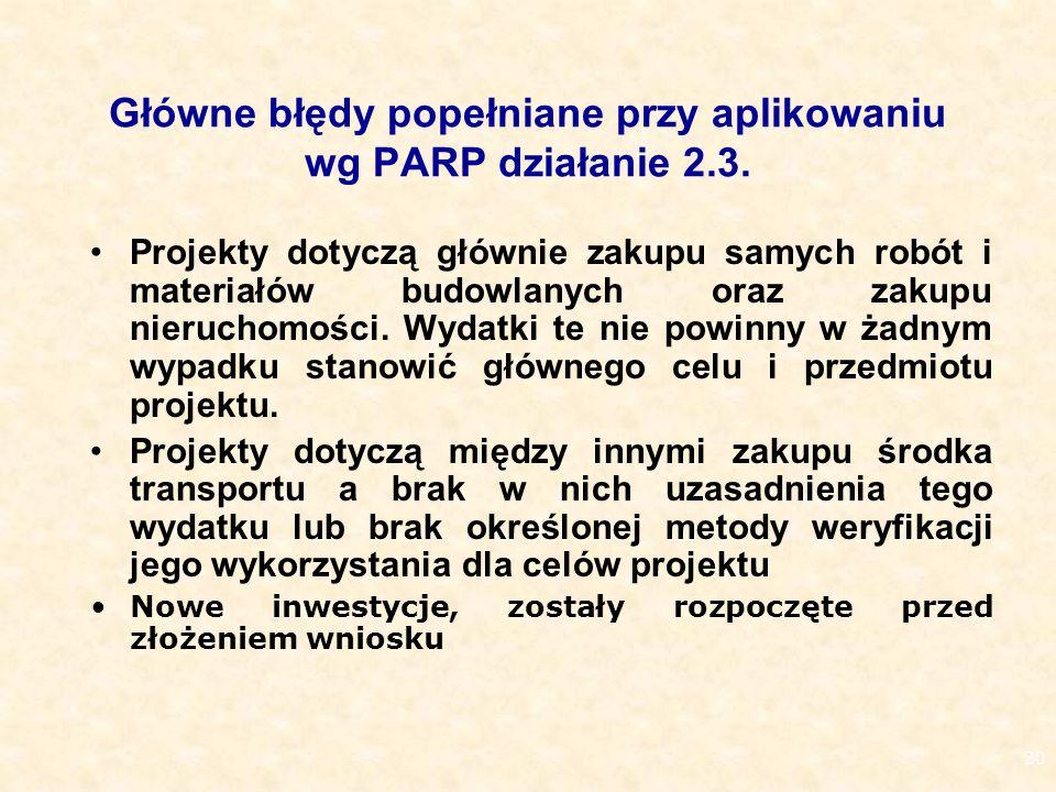 20 Główne błędy popełniane przy aplikowaniu wg PARP działanie 2.3.