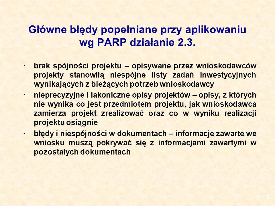 21 Główne błędy popełniane przy aplikowaniu wg PARP działanie 2.3.