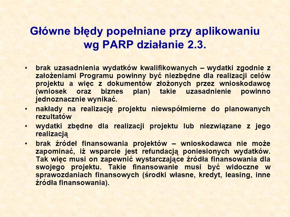 24 Główne błędy popełniane przy aplikowaniu wg PARP działanie 2.3.